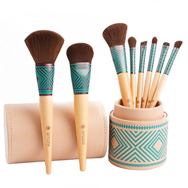 麦芽チャップトリプルamoore 8本 化粧筆 メイクブラシセット 化粧ブラシ セット コスメ ブラシ 収納ケース付き