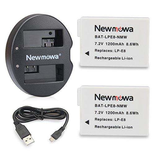 Newmowa キャノンLP-E8 互換バッテリー 2個 + 充電器 セットCanon LP-E8 and Canon EOS 550D 600D 650D 700D EOS Rebel T2i T3i T4i T5i EOS Kiss X4 X5 X6i X7i