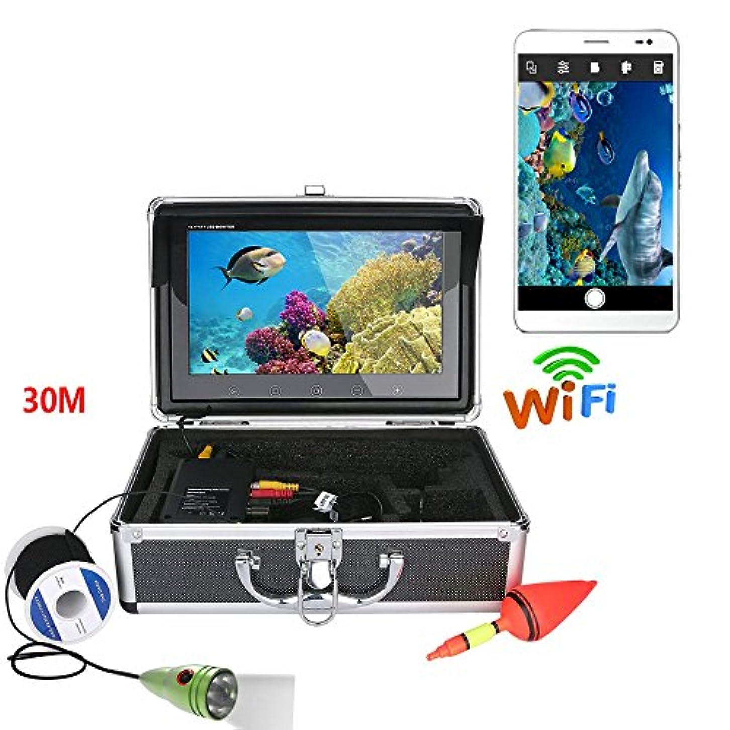 光沢チーズ煙10インチカラーモニター1000tvl水中釣りビデオカメラキットhd wifi用ios android appサポートビデオ記録と写真を撮る,30m