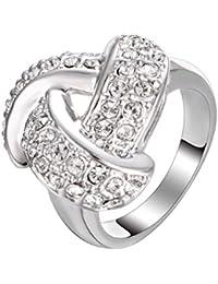 Yoursfs k18 リング ブランド ファッション 指輪 シルバー キュービック ジルコニア 指輪 CZ レディース アクセサリー (シルバー, 13)