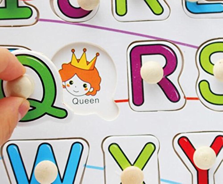 HuaQingPiJu-JP 子供のためのブランドの新しい木製の就学前の単語認知ボード教育パズル