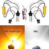 T20 7440 LED バルブ ホワイト アンバー 2色発光 フォグライト DRL ウインカー ポジション 12V-24V 42連2835SMD ピン角違い 150度 1000LM ハイフラ防止 キャンセラー内蔵 負荷抵抗 CANBUS 2個入り