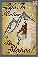 金属製スキースロープサイン。 アメリカ製! 20.32cmx30.48cm 全天候型 室内/屋外用 アンティーク調 スキー ロッジ リフト リゾート ログ キャビンデコ ビンテージ風
