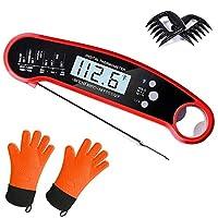 バンドル - インスタント読み取り肉用温度計、耐熱性シリコンバーベック手袋1組、クマの爪、肉のシュレッダー1組 (5アイテム)。 オレンジ