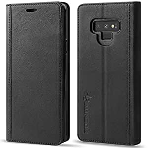 AUNEOS Samsung Galaxy Note9 ケース 手帳型 本革 ワイヤレス充電に対応 マグネット無し S-Penに対応 横開き カード収納 スタンド機能 耐衝撃 ギャラクシー ノート9 SCV40 SC-01L 手帳ケース (Galaxy Note 9, 黒い)