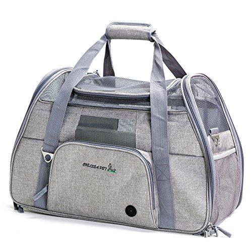 ペットキャリーバッグ ペット用バッグ 折りたたみ 軽量 安全ロック 通気性抜群 犬猫兼用 手提げ ショルダー 車載 3way お出かけ便利 (グレー(ライト))
