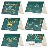 Kesoto クリスマスカード 24枚 クリスマス飾り メッセージカード 封筒付き 封筒テープ付き 花 トナカイ ベール