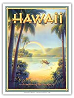 "Rainbow of the Pacific–ハワイ–ビンテージスタイルハワイアン旅行ポスターby Kerne Erickson–マスターアートプリント 9"" x 12"" PRTACS110V2"