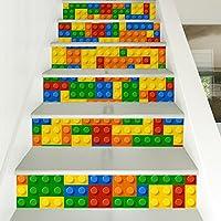 Takefuns ウォールステッカー 階段用 装飾 剥がせる 可愛い DIY 壁紙シール おしゃれ 立体 3D オリジナル 防水 防汚 壁貼り PVC製 部屋飾り インテリア雑貨 北欧 6枚セット FS002-1(レゴ)