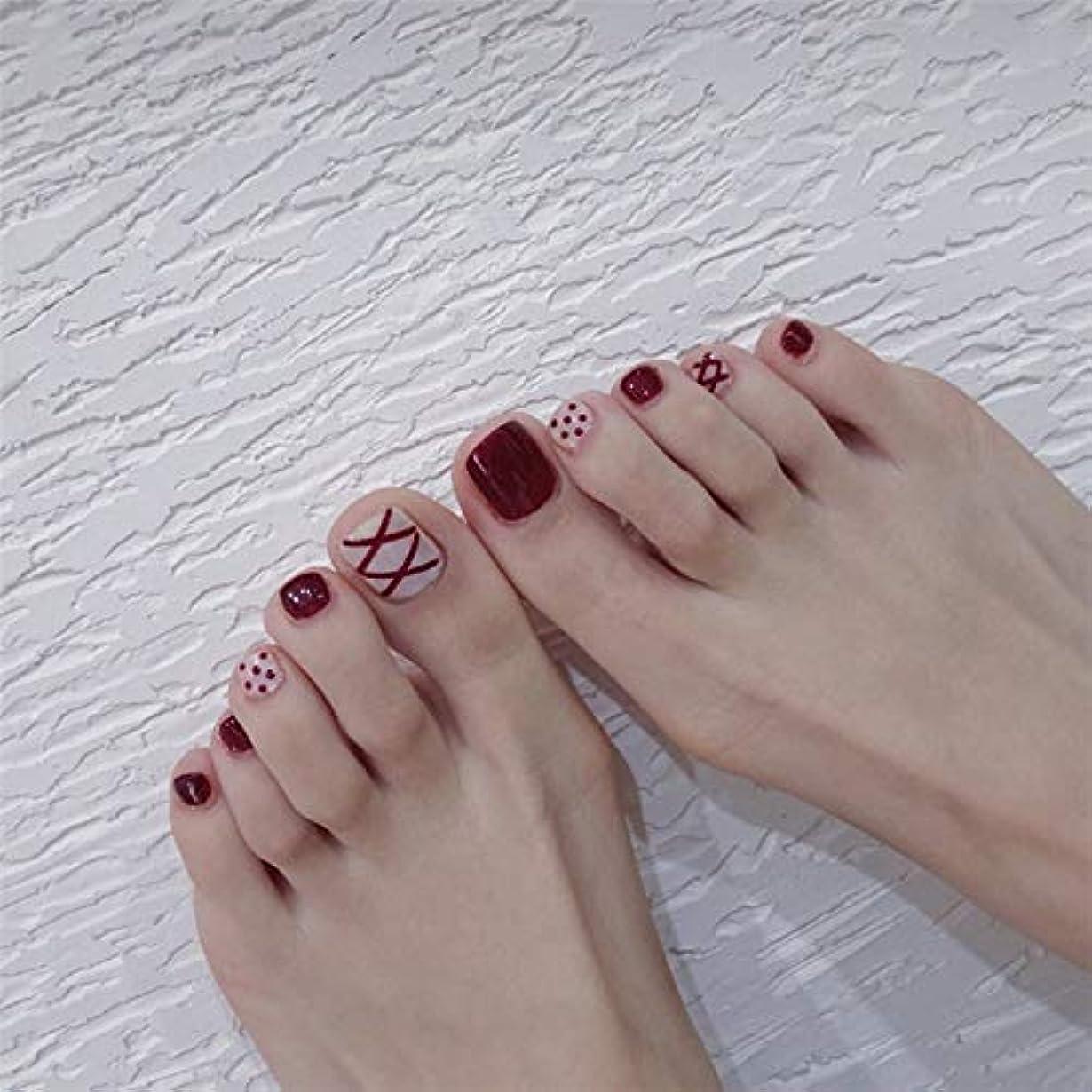 パイル熱意ささいなネイルチップ 24枚 12別サイズ つや 足の爪 ピンク 短い 四角形 フルカバー 水玉