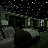 Realistic 3D Domed Glow in the Dark Stars606 Dots for Starry Sky Perfect For Kids Bedding Room Gift(606 stars) (Green)
