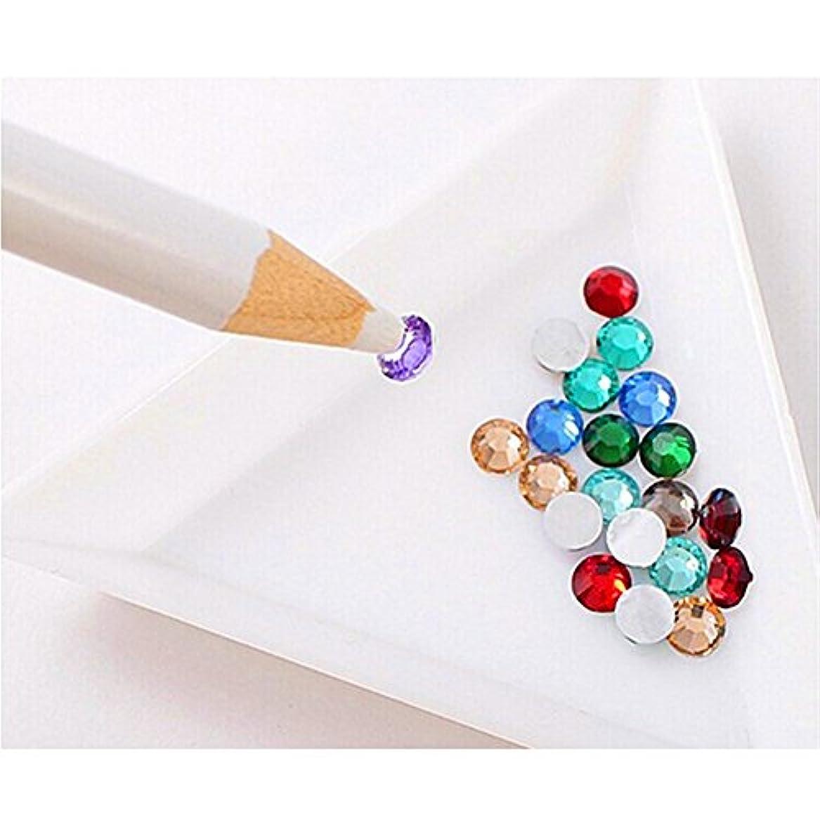 起業家冷酷なブレンド(ビュティー)Biutee ラインストーン 鉛筆 ネイルアート ツール ワックス ホワイト ペン 宝石 クリスタル マジカルペン(2本セット)