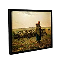 ArtWall Jean Francois MilLet's Sheperdess with Her Flock ギャラリーラップ フローター フレーム付きキャンバスアート 24x32 マルチカラー 1mil001a2432f