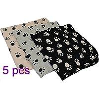 ペットマット ブランケット カーペット ラグ 可愛い 犬用 猫用 足の柄 フリース 暖かい 滑り止め ブラック 黒い 5pcs