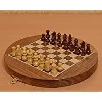 Chessbazaar Traveling Folding Round Magnetic 8-3/4 Inch Diameter Chess Set