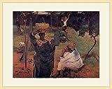 ゴーギャン・「マンゴーの木の下で」 プリキャンバス複製画・ 額付き(デッサン額/大衣サイズ/木地色)