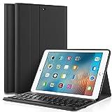 KuGi iPad 9.7 2017 キーボード 専用 Bluetooth キーボード ケース スタンド機能カバー Apple iPad 9.7インチ 2017モデル ワイヤレス 一体型 脱着式 手帳型 PUレザーケース付き 電池内蔵 持ち運び便利 無線キーボード 新型 iPad 9.7 2017 インチ 対応 ブラック