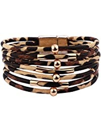 Leather Wrap Bracelets for Women Gifts - Multi Layered Rope Boho Pearl Wrap Bracelets for Women Girls, Handmade Magnetic Clasp Tree of Life Leather Cuff Bracelets Jewelry Gifts for Women Girls Teens