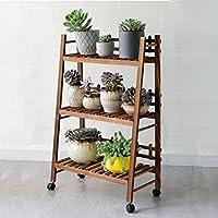 3段折り畳み式木製スタンド花植物ポットディスプレイシェルフ、ホイール付きラダーガーデンアウトドア