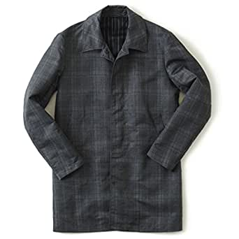 Timone ティモーネ メンズ コート ナイロン チェック コート KT010124 CHECK ステンカラーコート (S, CHECK (ダークグリーン))