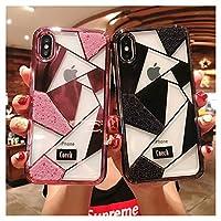 可愛い iPhone8 iPhone7 iPhone6 iPhone6s ケース カバー クリア 透明ケース 女性人気 幾何学 三角柄 キラキラケース アイフォン8 アイフォン7 アイフォン6S デコケース ゴージャス きらきら (iPhone8/iPhone7/iPhone6/6s兼用, 金)