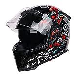 大人のオートバイヘルメット、モトクロスフルフェイス、ECE承認された大人の防曇ダブルシェードアダルトスクーターヘルメットユニセックス都市スポーツクルーザー,黒,L=(58~60cm)