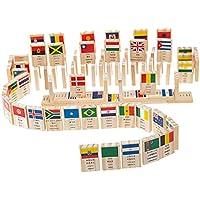 SONONIA 100本 知育玩具 ドミノ 100個  積み木 国旗 認知おもちゃ バランス能力 創造力を訓練