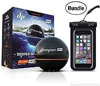 DeeperスマートSonar Proシリーズ–Wi - Fiワイヤレス接続され、Castable、ポータブルスマートFishfinder for iOS & Androidデバイス&ユニバーサル防水携帯電話ケース(バンドル) ブラック