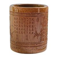 中国文化竹彫刻デスクアクセサリーペンホルダーオフィス収納、G