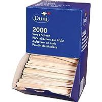 DUNI 木製マドラー 長さ11.4cmx幅0.5cm ディスペンサーボックス付き 2000本入り