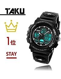 腕時計 男の子 TAKU STORE キッズ 腕時計 こども用 防水 アナログ デジタル表示 ボーイズ 入学祝い プレゼント ブラック