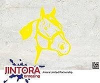 JINTORA ステッカー/カーステッカー - Horse head - 馬頭 - 89x101mm - JDM/Die cut - 車/ウィンドウ/ラップトップ/ウィンドウ- 黄色