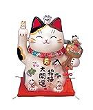 彩絵招福大開運招き猫(ちりめん首輪付・8.5号) AM-Y7453