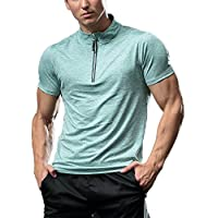 FELiCON® Men's Short Sleeve T-Shirt with Zip Neck Breathable Lightweight Baselayer Quick Dry Running Gym Skin Tight Training Fitness Exercis Sports Shirt