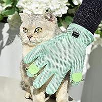 ペット ブラシ マッサージ 手袋 猫 犬 に使える 5指デザインの 抜け毛 ペットグルーミンググローブ (右手用, グリーン)