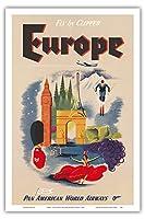 ヨーロッパ - クリッパーによってフライ - パンアメリカン航空 - ビンテージな航空会社のポスター c.1950s - アートポスター - 31cm x 46cm