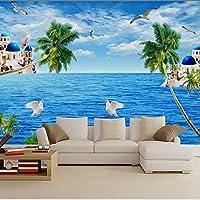 Xbwy 家のための注文3D地中海様式の壁の地中海の景色の壁紙の海辺の景色の壁紙の壁画-120X100Cm