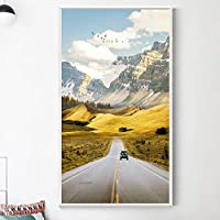 スカンジナビアの風景キャンバス壁アートポスター創造的な動機ポスター印刷道路生活引用ミニマリスト絵画の装飾-50×80センチ×1個フレームなし