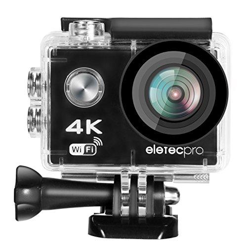 アクションカメラ EletecPro 4K WIFI搭載 CMOSセンサー 2インチ液晶画面 170度広角 30m防水 1200万画素 2.4G無線RF 空撮やスポーツに最適 予備一つ900mAhバッテリー&20件付属品付き リモコンバイクや自転車/カート/車に取り付け可能