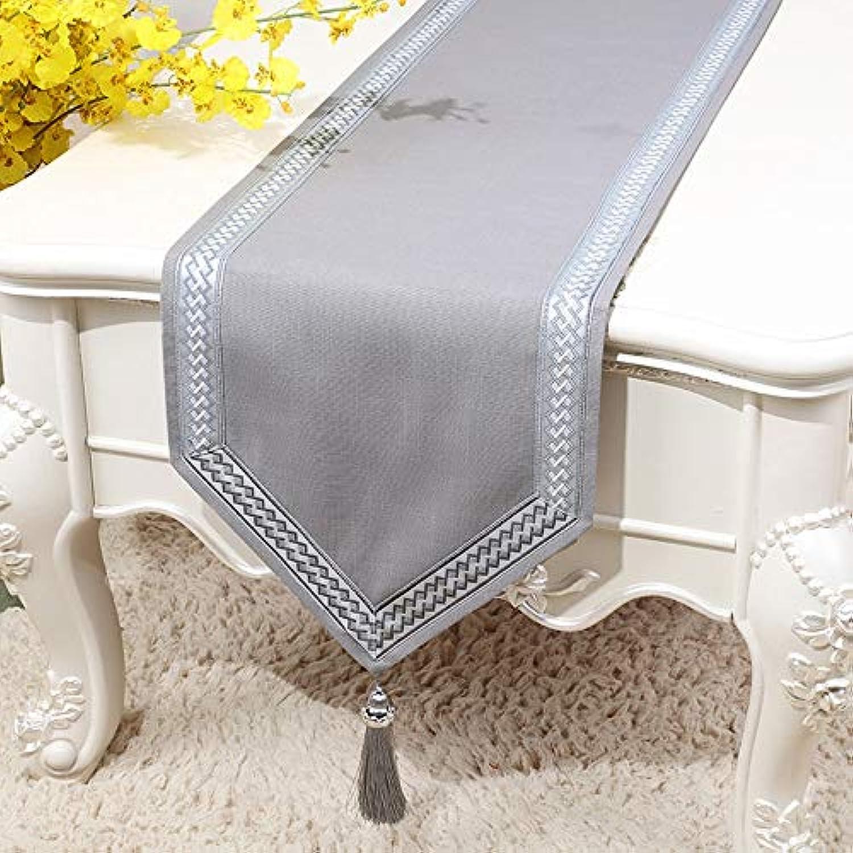 テーブルランナー ホームデコレーション 工芸品 おしゃれ 結婚式 パーティー エレガント 豪華 モダン クリスマス (Color : Gray, Size : 33×200cm)