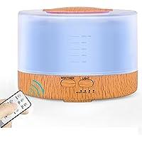 加湿器 アロマディフューザー 卓上 超音波式 空気清浄機 アロマライト噴霧量設定 七色変換LEDライト 500ml大容量 切タイマー 木目調