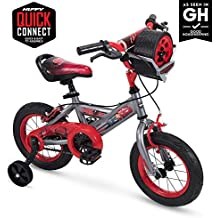 """Huffy Disney Cars Kid Bike Quick Connect Assembly, Tire Case Storage & Training Wheels, 12"""" Grey"""