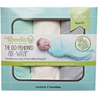 Woombie 3 Piece Organic Airwrap Vented Blankets, Green/Cream/Gray, 44 by Woombie