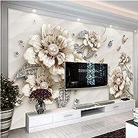 Clhhsy 3D壁紙現代ジュエリー花写真壁壁画リビングルームテレビソファテーマホテル高級背景壁画家の装飾-400X280Cm