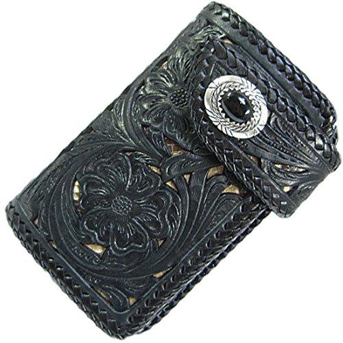 85f929870d3b バイカーズウォレット レザーウォレット メンズ ハーフウォレット ミドル 本革 レザー 透かし彫り カービング パイソン サドルレザー ブラック 黒