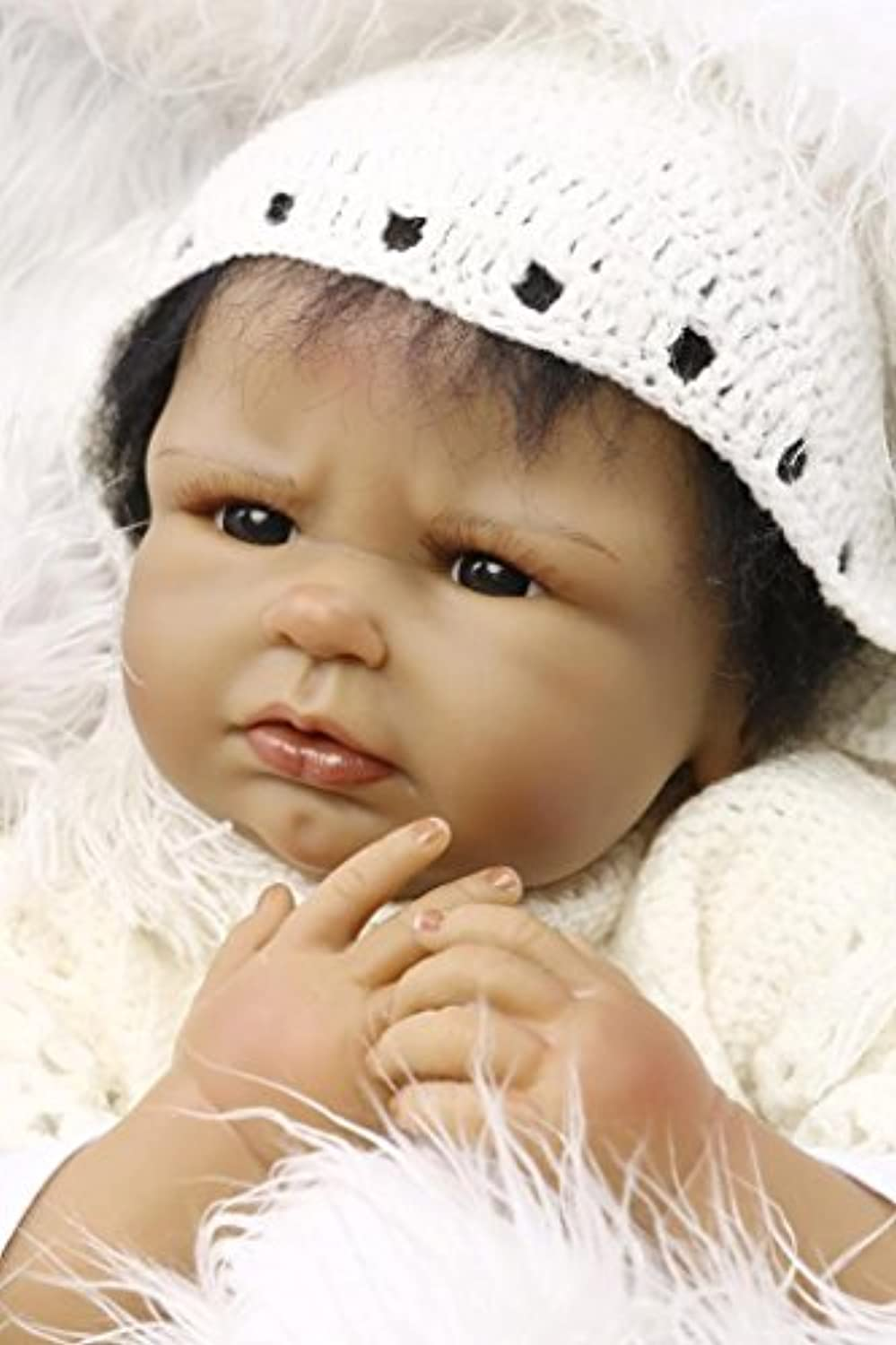 Rareシリコンブラック人形Lifelike Reborn African Baby Girl Look Real Collectible Toyギフト、22インチ