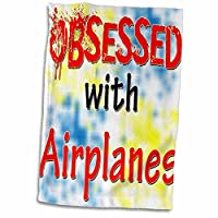 """3droseブロンドDesigns Obsessed with–Obsessed with Airplanes–タオル 15"""" x 22"""" twl_241512_1"""