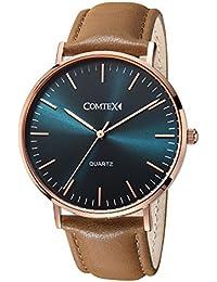 Comtex メンズ 腕時計 湖の色 グリーン 革バンド シンプル 時計 ブラウン おしゃれ