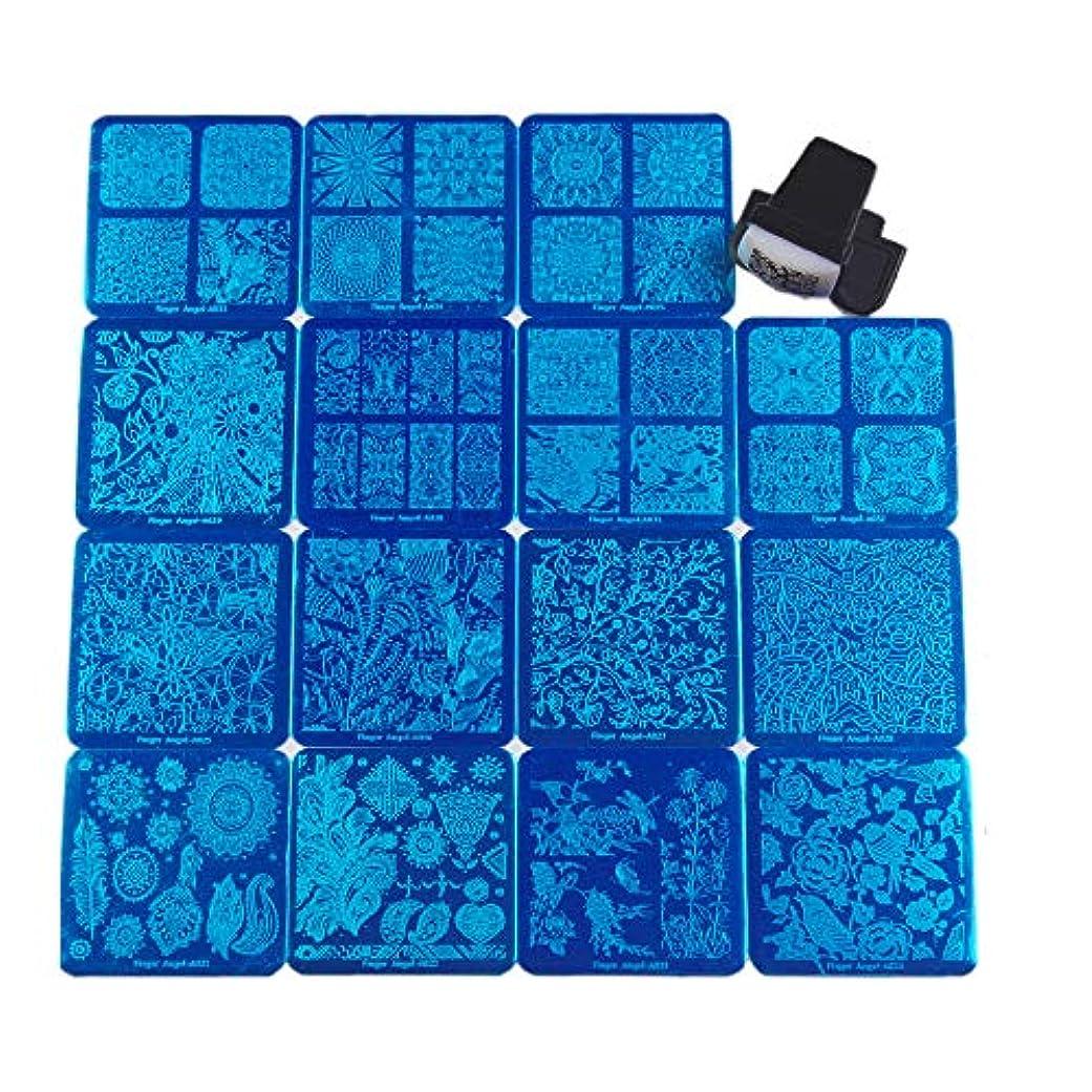 赤道歯痛してはいけないFingerAngel ネイルイメージプレートセット ネイルプレート正方形15枚 スタンプ スクレーパー カードバッグ付き ネイルサロンも自宅も使えるネイルプレート