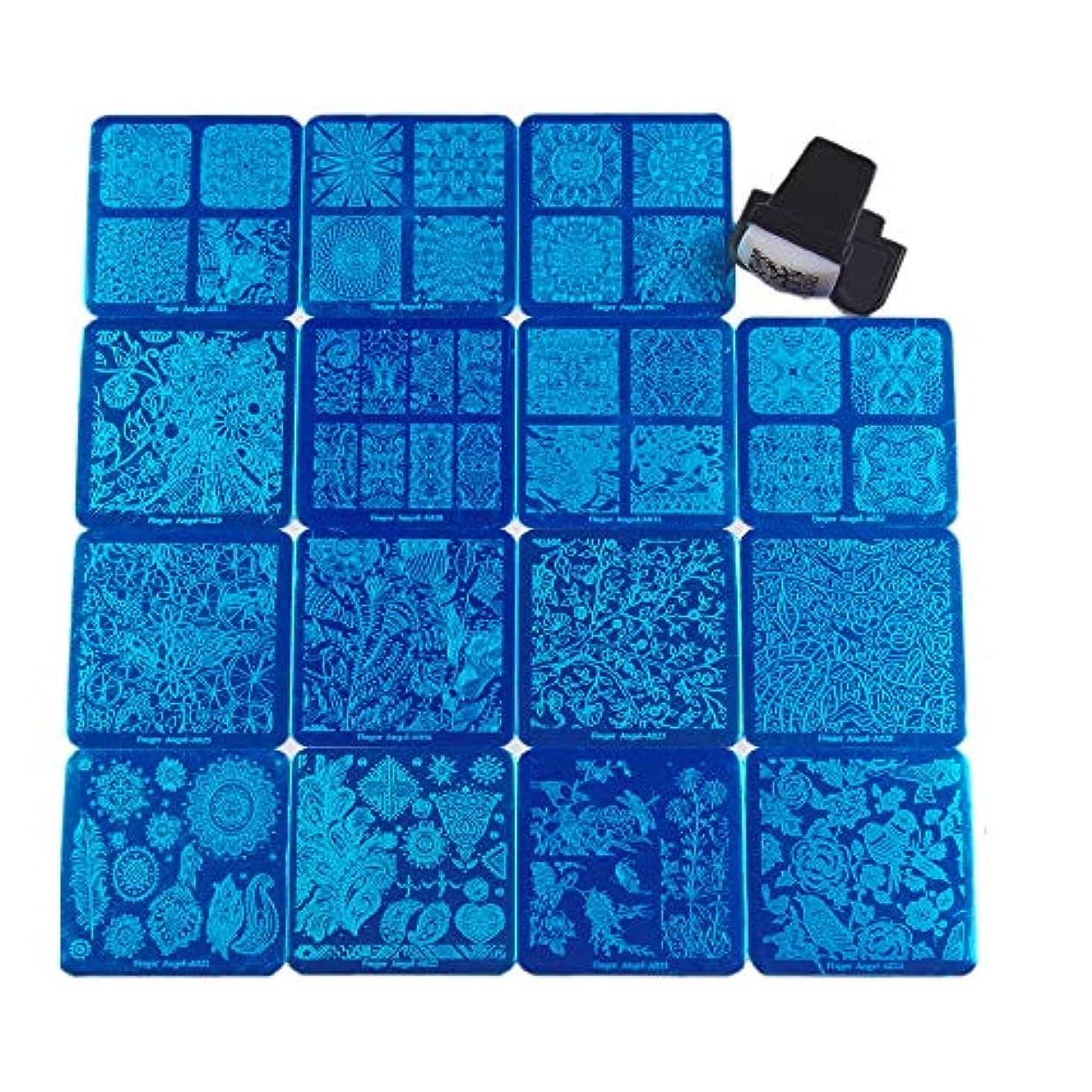 近く正規化入射FingerAngel ネイルイメージプレートセット ネイルプレート正方形15枚 スタンプ スクレーパー カードバッグ付き ネイルサロンも自宅も使えるネイルプレート